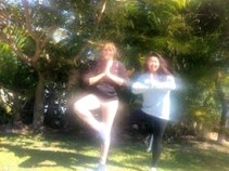 Yoga poses in the park