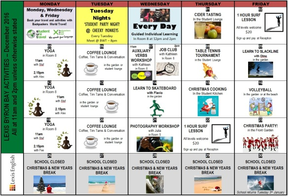 December Activity Calendar  Lexis  Byron Bay Blog