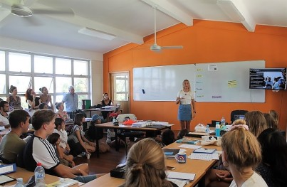 PCFML Louisa adressing students at the Lexis English Language School