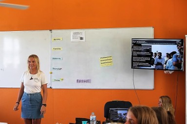 PCFML Louisa presenting at the Lexis English Language School